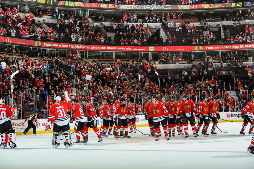 Chigago Blackhawks celebrate after 5-1 win over San Jose Sharks