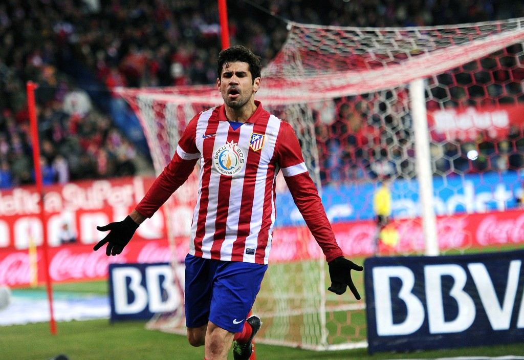Diego Costa tuulettaa Atletico Madridin paidassa (Getty images)