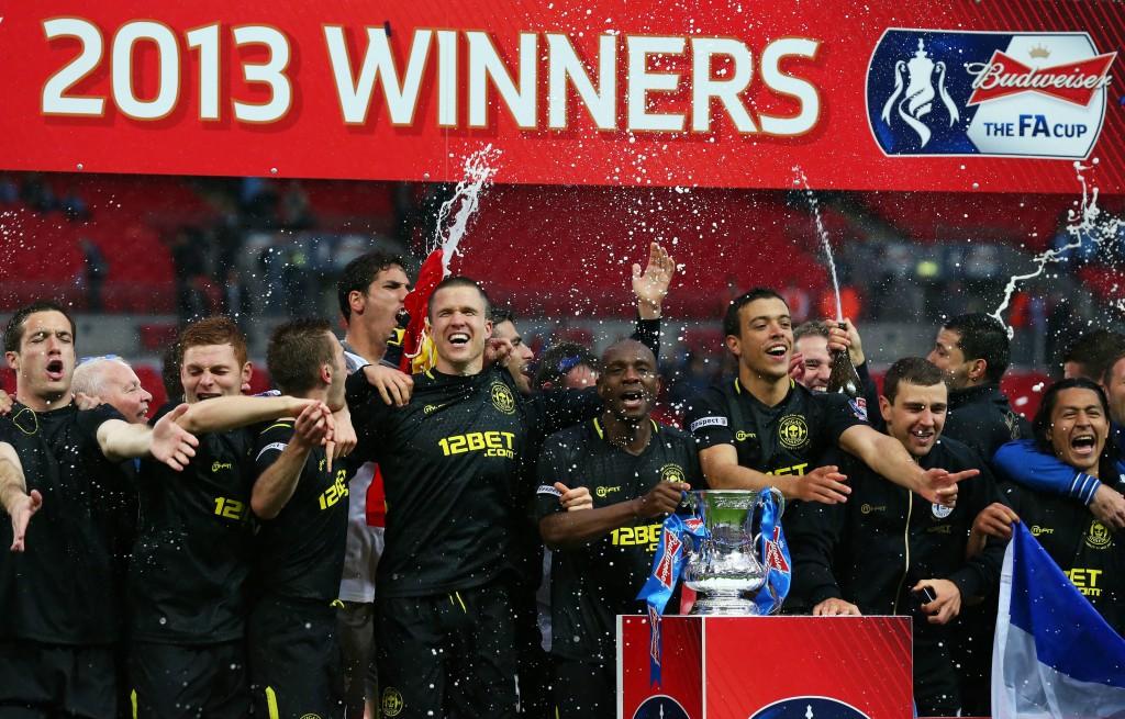 Wigan putosi viime vuonna Valioliigasta, mutta voitti FA Cupin (Getty)
