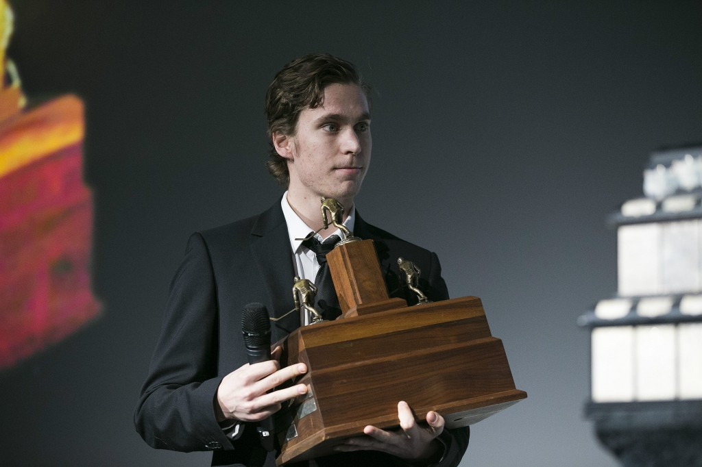 Michael Keränen arvostettiin Liigan runkosarjan parhaaksi pelaajaksi Lasse Oksanen -palkinnolla (Alloverpress)