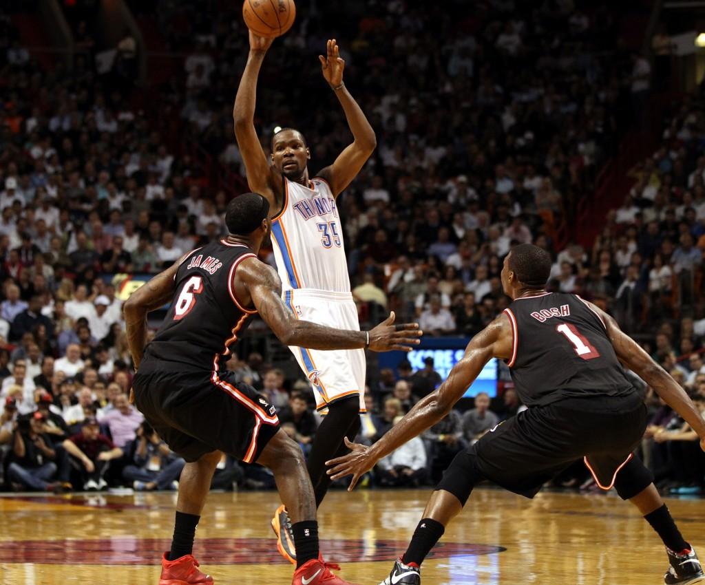 Miami, Oklahoma, Lebron, Durant, nuoret ja vanhat. (Getty Images)
