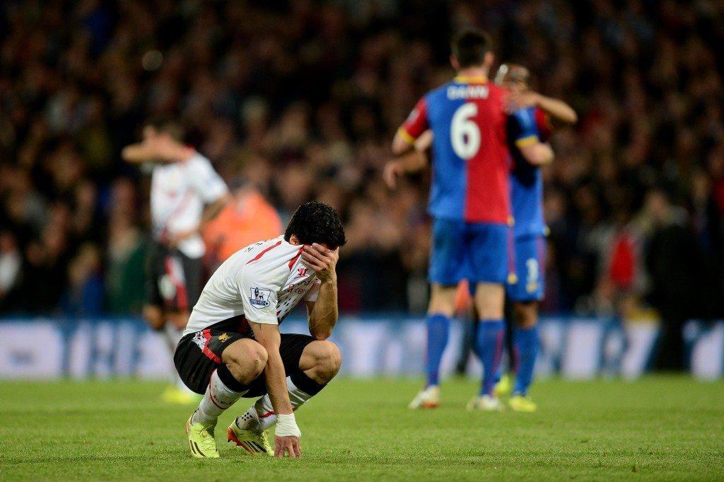 Luis Suarez tiesi Crystal Palace tasapelin jälkeen, että peli on menetetty. Kuva: Getty