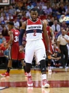 John Wall pelaa erinoamista kautta Wizardsin riveissä. (Getty)