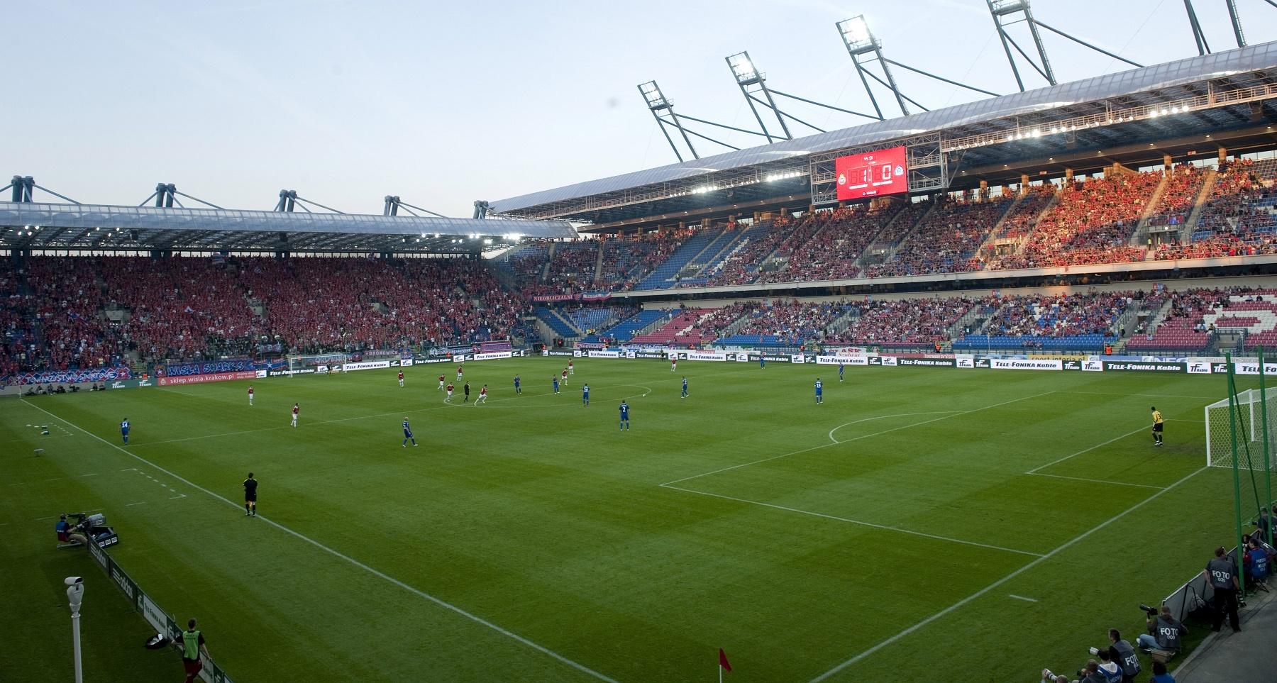 Wisla Krakowin Miejski stadion toimii lauantaina päänäyttämönä. KUVA: Getty Images