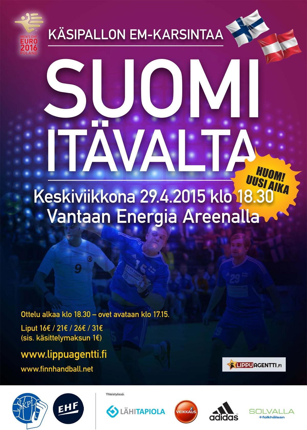 Käsipallon EM-karsintaottelu Suomi-Itävalta
