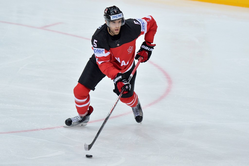 Prag, 3.5.2015, Eishockey WM 2015 - Kanada - Deutschland, Aaron Ekblad (can) (Melanie Duchene PUBLICATIONxNOTxINxSUIxAUTxLIExITAxFRAxNED