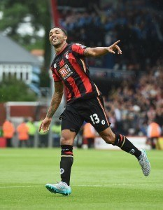 BOURNEMOUTH, ENGLAND - AUGUST 29: Callum Wilson of Bournemouth celebrates scoring his team's first goal during the Barclays Premier League match between A.F.C. Bournemouth and Leicester City at Vitality Stadium on August 29, 2015 in Bournemouth, England. (Photo by Michael Regan/Getty Images)