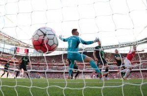 during the Barclays Premier League match between Arsenal and Stoke City at the Emirates Stadium on September 12, 2015 in London, United Kingdom.