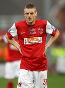 FLEETWOOD, ENGLAND - JANUARY 07: Jamie Vardy of Fleetwood Town during the FA Cup sponsored by Budweiser third round match between Fleetwood Town and Blackpool at Highbury Stadium on January 7, 2012 in Fleetwood, England. (Photo by Alex Livesey/Getty Images)