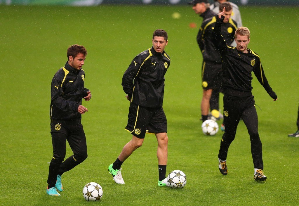 of Borussia Dortmund during a training session at the Etihad Stadium on October 2, 2012 in Manchester, England.