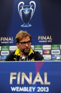 LONDON, ENGLAND - MAY 24: Head Coach Jurgen Klopp looks on during a Borussia Dortmund press conference ahead of the UEFA Champions League final match against FC Bayern Muenchen at Wembley Stadium on May 24, 2013 in London, United Kingdom. (Photo by Handout/UEFA via Getty Images)
