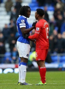 LIVERPOOL, ENGLAND - NOVEMBER 23:  Romelu Lukaku of Everton shakes hands with Daniel Sturridge of Liverpool at the end of the Barclays Premier League match between Everton and Liverpool at Goodison Park on November 23, 2013 in Liverpool, England.  (Photo by Alex Livesey/Getty Images)