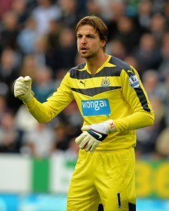 NEWCASTLE UPON TYNE, ENGLAND - SEPTEMBER 26: Tim Krul of Newcastle United during the Barclays Premier League match between Newcastle United and Chelsea at St James' Park on September 26, 2015 in Newcastle upon Tyne, United Kingdom. (Photo by Tony Marshall/Getty Images)