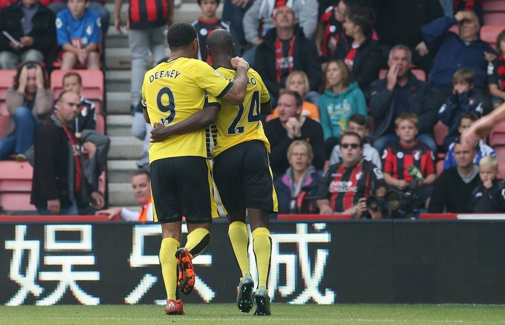 BOURNEMOUTH, ENGLAND - OCTOBER 03: Odion Ighalo of Watford celebrates with Troy Deeney scoring a goal during the Barclays Premier League match between A.F.C. Bournemouth and Watford at the Vitality Stadium on October 3, 2015 in Bournemouth, England. (Photo by Matt Cardy/Getty Images)