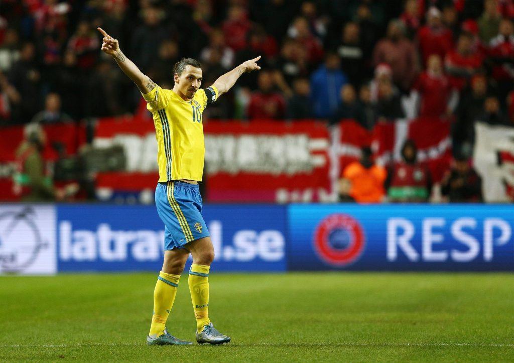 Tuulettaminen on tullut Zlatanille tutuksi. Mies on viimeistellyt Ruotsille urallaan jo 60 maalia. Kuva: AOP