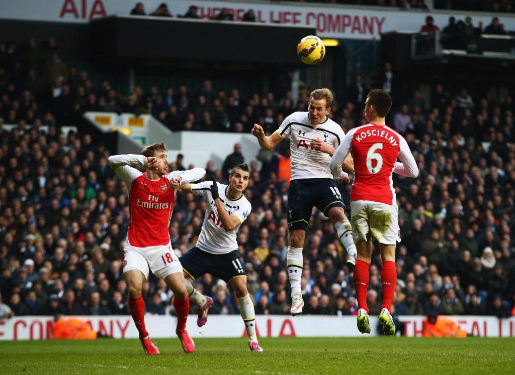 LONDON, ENGLAND - FEBRUARY 07: Harry Kane of Tottenham Hotspur heads the winning goal during the Barclays Premier League match between Tottenham Hotspur and Arsenal at White Hart Lane on February 7, 2015 in London, England. (Photo by Clive Rose/Getty Images)