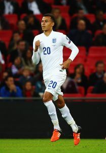 LONDON, ENGLAND - OCTOBER 09: Dele Alli of England in action during the UEFA EURO 2016 Group E qualifying match between England and Estonia at Wembley on October 9, 2015 in London, United Kingdom. (Photo by Clive Rose/Getty Images)