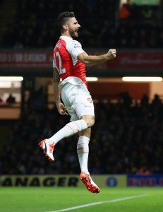 WATFORD, ENGLAND - OCTOBER 17: Olivier Giroud of Arsenal celebrates as he scores their second goal during the Barclays Premier League match between Watford and Arsenal at Vicarage Road on October 17, 2015 in Watford, England. (Photo by Jan Kruger/Getty Images)