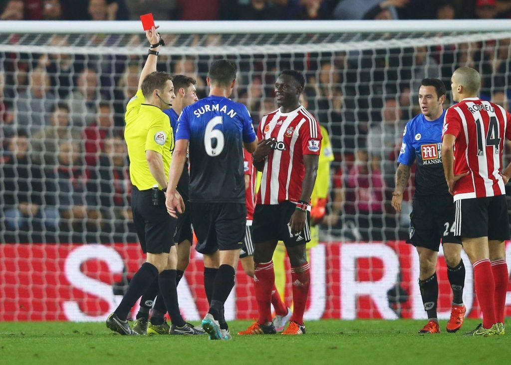 during the Barclays Premier League match between Southampton and A.F.C. Bournemouth at St Mary's Stadium on November 1, 2015 in Southampton, England.