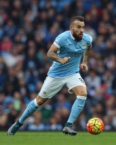 MANCHESTER, ENGLAND - OCTOBER 31: Nicolas Otamendi of Manchester City in action during the Barclays Premier League match between Manchester City and Norwich City at Etihad Stadium on October 31, 2015 in Manchester, England. (Photo by Chris Brunskill/Getty Images)