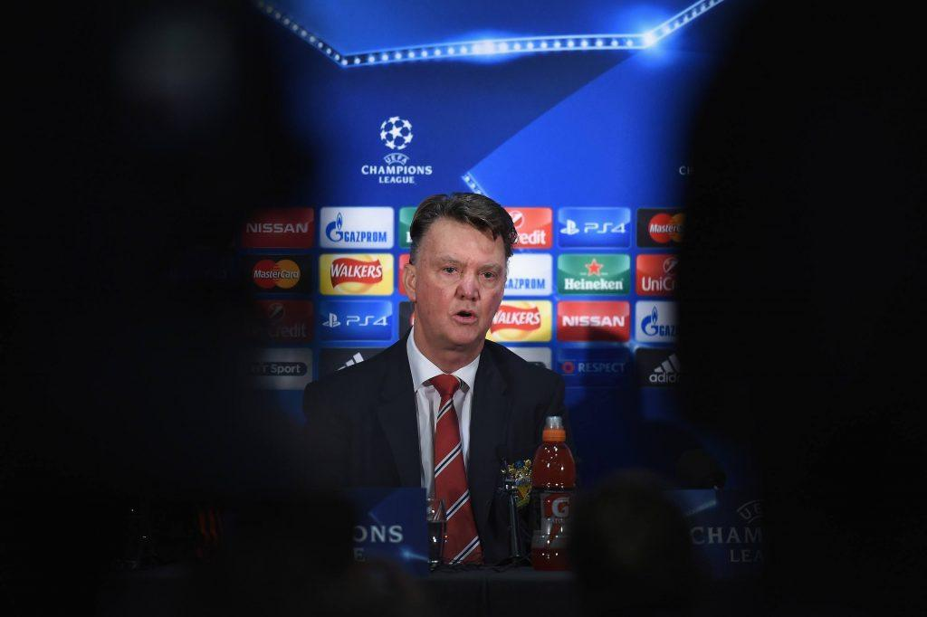 speaks to the media during the Manchester United press conference at Old Trafford on November 24, 2015 in Manchester, England.