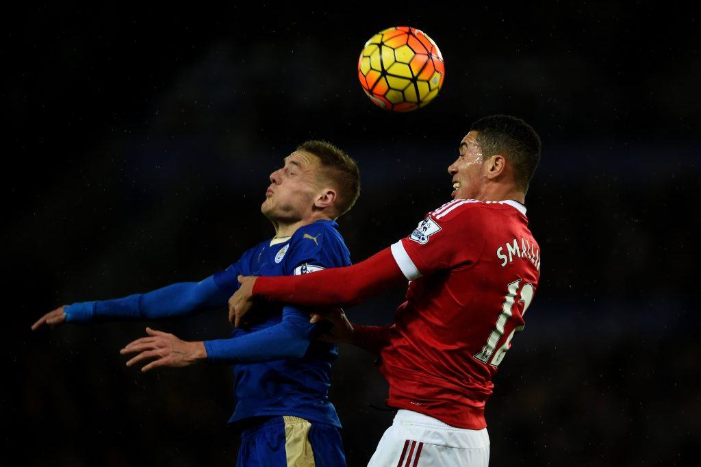during the Barclays Premier League match between Leicester City and Manchester United at The King Power Stadium on November 28, 2015 in Leicester, England.