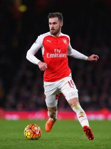 LONDON, ENGLAND - DECEMBER 05: Aaron Ramsey of Arsenal in action during the Barclays Premier League match between Arsenal and Sunderland at Emirates Stadiumon December 5, 2015 in London, England. (Photo by Shaun Botterill/Getty Images)