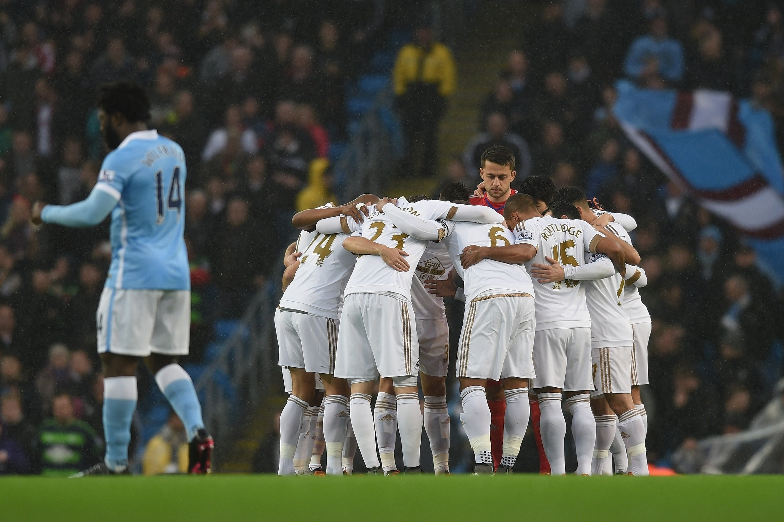 during the Barclays Premier League match between Manchester City and Swansea City at Etihad Stadium on December 12, 2015 in Manchester, United Kingdom.