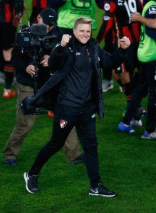 BOURNEMOUTH, ENGLAND - DECEMBER 12: Manager Eddie Howe of Bournemouth celebrates their victory during the Barclays Premier League match between A.F.C. Bournemouth and Manchester United at the Vitality Stadium on December 12, 2015 in Bournemouth, England. (Photo by Christopher Lee/Getty Images for Carlsberg)