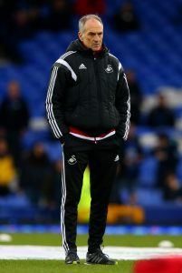 LIVERPOOL, ENGLAND - JANUARY 24: Francesco Guidolin, Manager of Swansea City looks on during the warm-up before the Barclays Premier League match between Everton and Swansea City at Goodison Park on January 24, 2016 in Liverpool, England. (Photo by Alex Livesey/Getty Images)