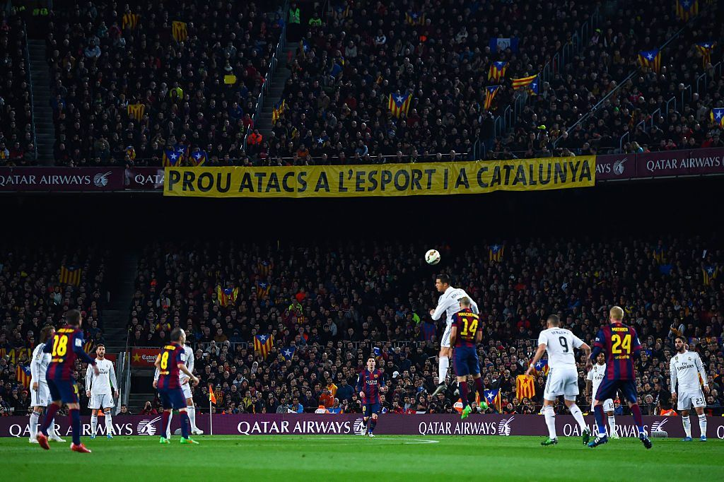BARCELONA, SPAIN - MARCH 22: A banner that it reads 'Prou atacs a l'esport a Catalunya' (Stop attacks to sport in Catalonia) is displayed during the La Liga match Between FC Barcelona and Real Madrid CF at Camp Nou on March 22, 2015 in Barcelona, Spain. (Photo by David Ramos/Getty Images)