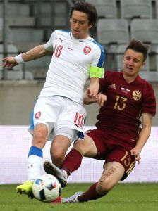 INNSBRUCK, AUSTRIA - JUNE 1, 2016: The Czech Republic's Tomas Rosicky (L) and Russia's Alexander Golovin in an international football friendly match at Tivoli Neu Stadium. Alexander Demianchuk/TASS (Photo by Alexander DemianchukTASS via Getty Images)