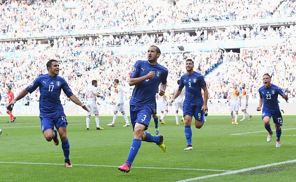 Giorgio Chiellini teki joukkueensa avausmaalin neljännesvälierässä Espanjaa vastaan. Kuva: Getty