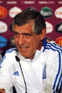 GDANSK, POLAND - JUNE 21: In this handout image provided by UEFA, Fernando Santos of Greece talks to the media during a UEFA EURO 2012 press conference at the Municipal Stadium on June 21, 2012 in Gdansk, Poland. (Photo by Handout/UEFA via Getty Images)