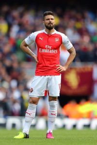 LONDON, UNITED KINGDOM - MAY 15: Olivier Giroud of Arsenal reacts during the Barclays Premier League match between Arsenal and Aston Villa at Emirates Stadium on May 15, 2016 in London, England. (Photo by Julian Finney/Getty Images)