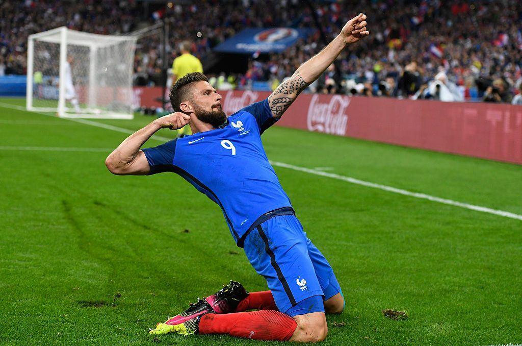 Ranska järjesti melkoisen ilotulituksen puolivälierissä. Olivier Giroud kuritti Islantia kahdella osumalla. Kuva: Getty