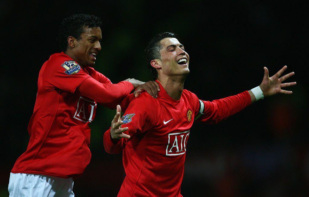 Nani ja Ronaldo juhlivat Unitedissa kahdesti Valioliigan sekä kertaalleen Mestarien liigan voittoa. Kuva: Getty
