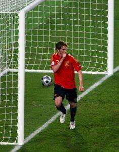 Fernando Torresin tuuletus 2008 finaalin voittomaalin jälkeen. (Getty)