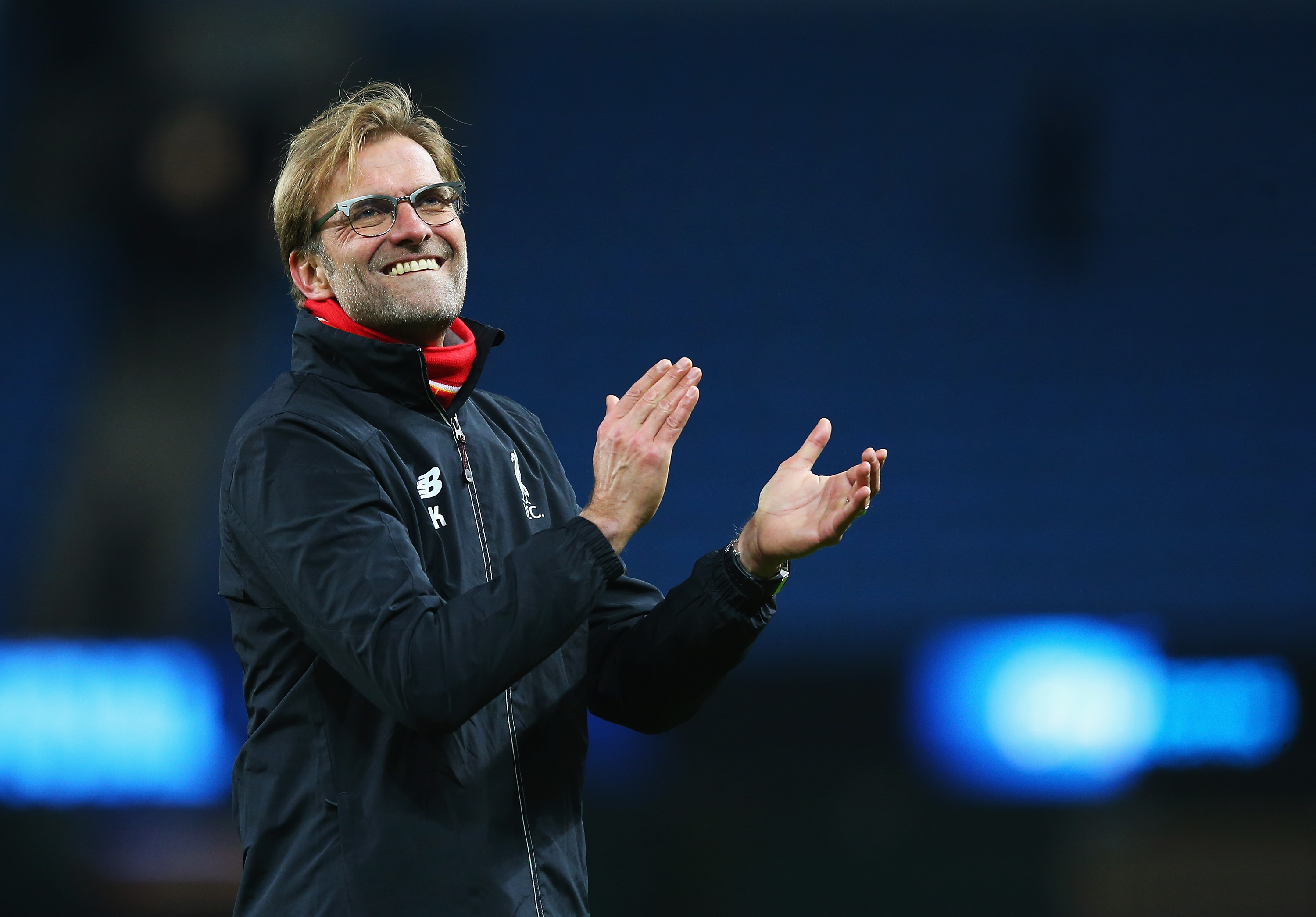 MANCHESTER, ENGLAND - NOVEMBER 21: Jurgen Klopp, manager of Liverpool applauds the supporters after his team's 4-1 win in the Barclays Premier League match between Manchester City and Liverpool at Etihad Stadium on November 21, 2015 in Manchester, England. (Photo by Alex Livesey/Getty Images)