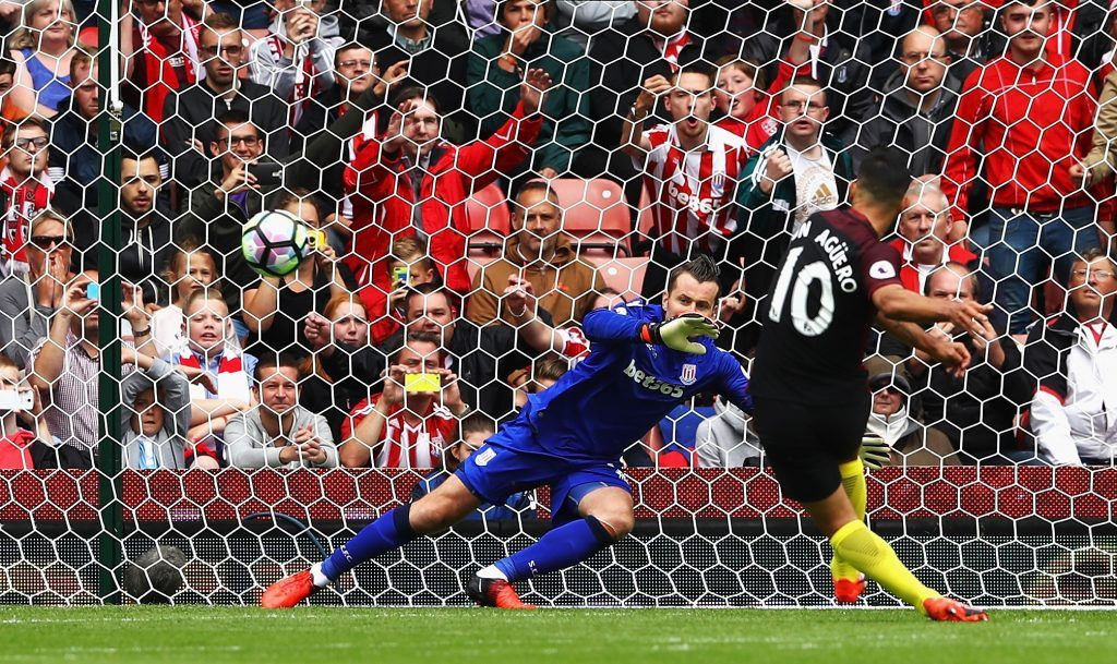 STOKE ON TRENT, ENGLAND - AUGUST 20: Sergio Aguero of Manchester City scores his sides first goal past Shay Given of Stoke City during the Premier League match between Stoke City and Manchester City at Bet365 Stadium on August 20, 2016 in Stoke on Trent, England. (Photo by Michael Steele/Getty Images)