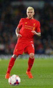 DERBY, ENGLAND - SEPTEMBER 20: Alberto Moreno of Liverpool in action during the EFL Cup Third Round match between Derby County and Liverpool at iPro Stadium on September 20, 2016 in Derby, England. (Photo by Richard Heathcote/Getty Images)