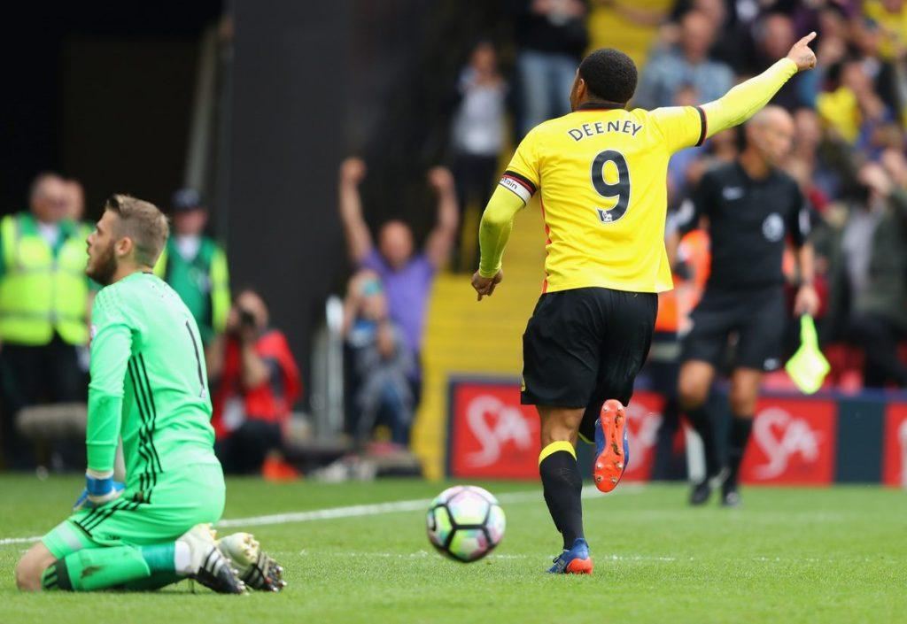 Watfordissa seuraikonin asemaan noussut Troy Deeney on iskenyt yhtä vaille 100 maalia Herhiläisille. Kuva: Getty
