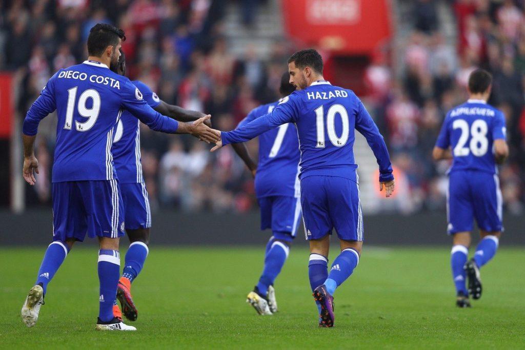 Chelsean hyökkäystä johtavat Costa ja Hazard ovat äityneet kovaan vireeseen. Kuva: Getty